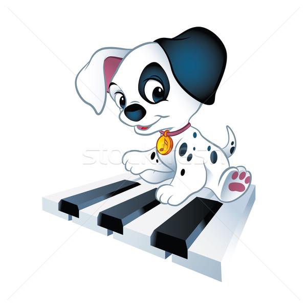 Piano puppy illustratie cute weinig vergadering Stockfoto © penivajz