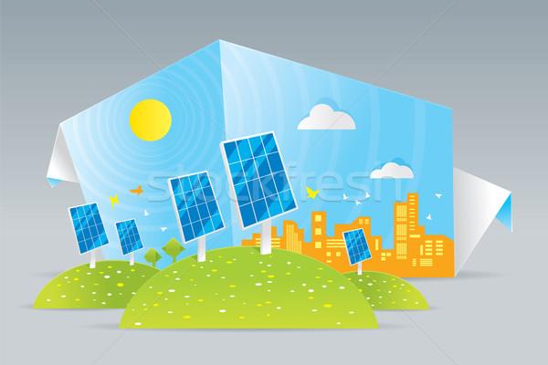 Eco zonnepanelen illustratie groene veld boom Stockfoto © penivajz