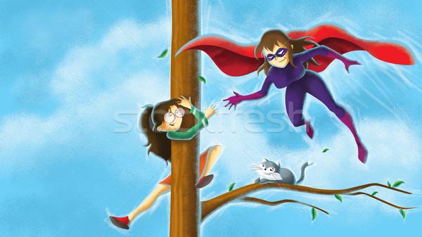 スーパーヒーロー 少女 実例 ツリー ストックフォト © penivajz