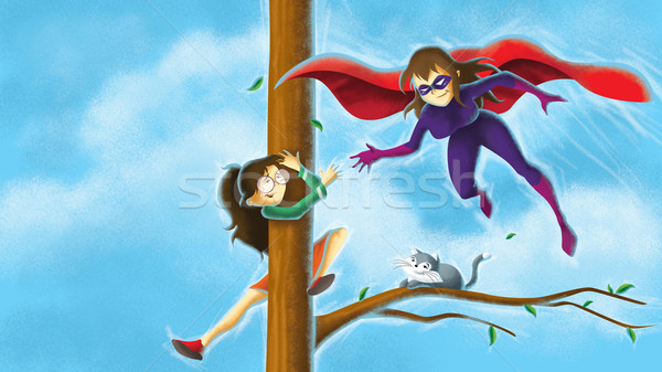 Besparing meisje illustratie boom Stockfoto © penivajz