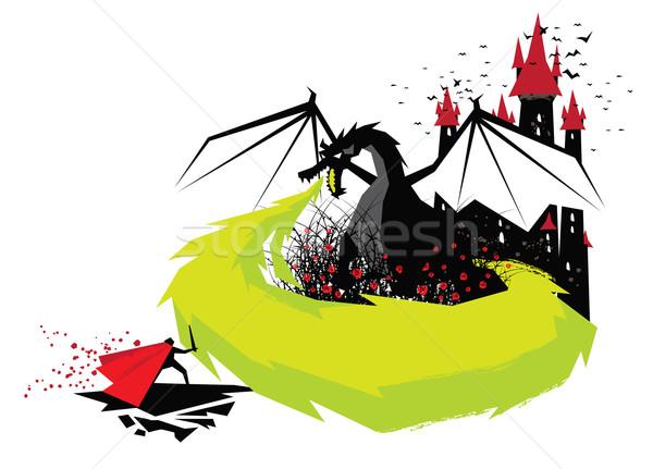 Slapen schoonheid illustratie sprookje draak prins Stockfoto © penivajz