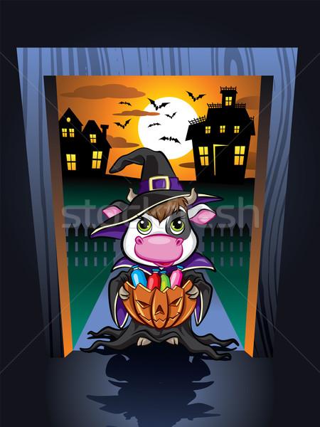 Halloween koe illustratie cute deurlijst nacht Stockfoto © penivajz