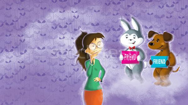 Meisje kiezen echt vrienden illustratie vriend Stockfoto © penivajz