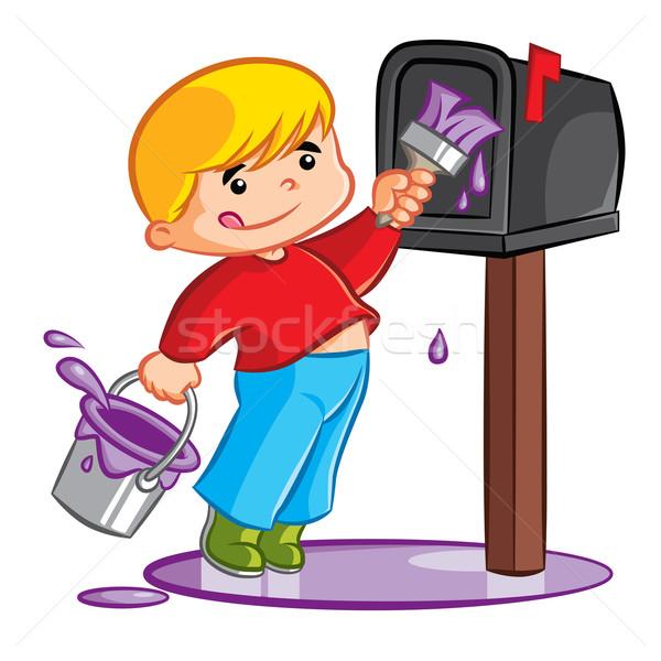 Schilderij mailbox illustratie jonge blond Stockfoto © penivajz