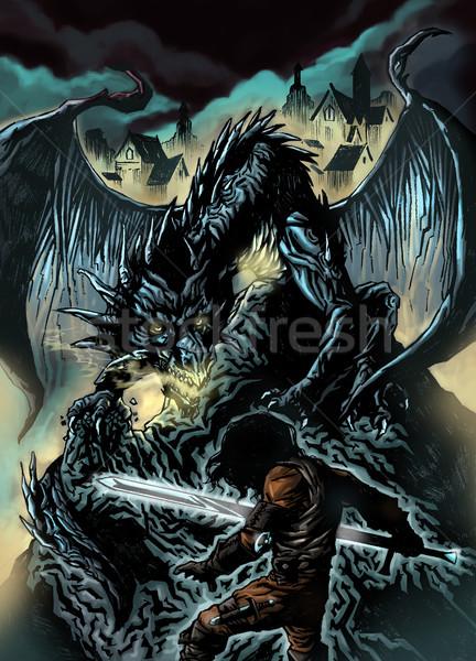 龍 ハンター 実例 戦う ビッグ 黒 ストックフォト © penivajz