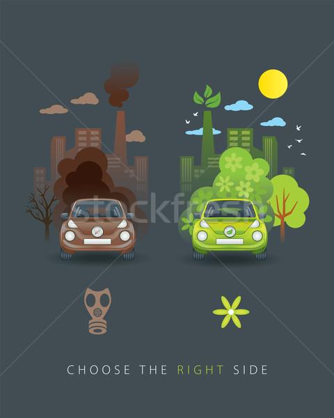 Eco zielone brązowy samochodu ilustracja porównanie Zdjęcia stock © penivajz
