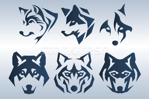 Blue wolf logo Stock photo © penivajz