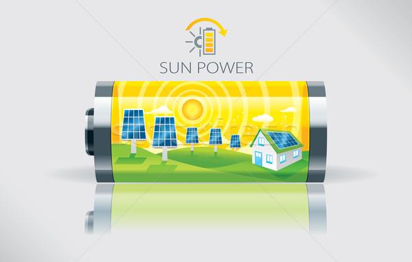 エコ 太陽 バッテリー 実例 ビッグ 緑 ストックフォト © penivajz