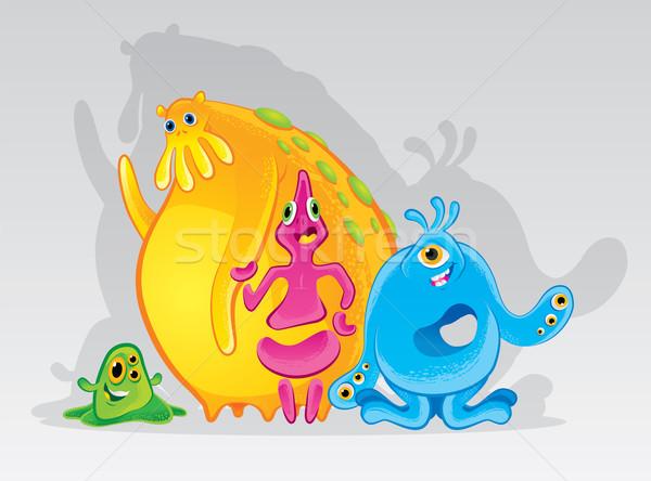 Cute kleurrijk monsters illustratie verscheidene verschillend Stockfoto © penivajz