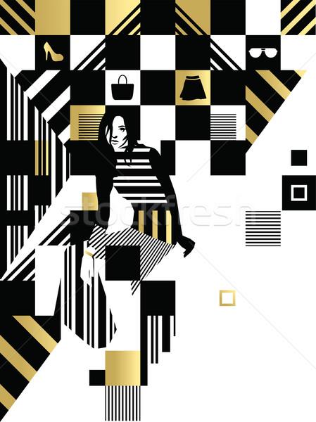 Siyah beyaz moda kare örnek model siyah Stok fotoğraf © penivajz