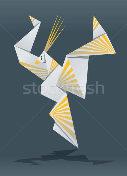 Stockfoto: Paradijs · vogel · illustratie · Open · vleugels · origami