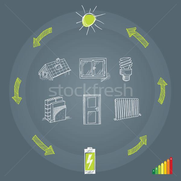 Energie-efficiëntie illustratie huis ontwerp technologie venster Stockfoto © penivajz