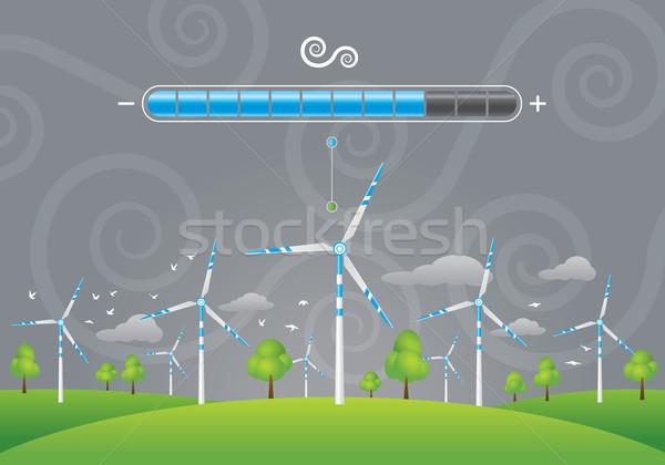 Eco energie illustratie groene veld bomen Stockfoto © penivajz