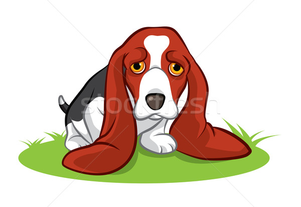 Groot oren puppy illustratie weinig bruin Stockfoto © penivajz
