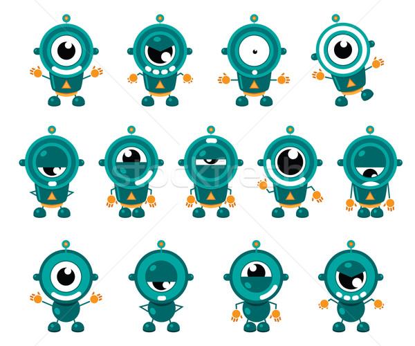 Cute weinig robots illustratie robot verscheidene Stockfoto © penivajz