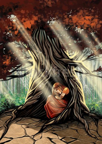 девушки спальный дерево иллюстрация женщину Сток-фото © penivajz