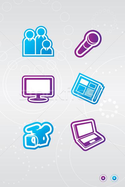 Media iconen illustratie twee kleuren computer Stockfoto © penivajz