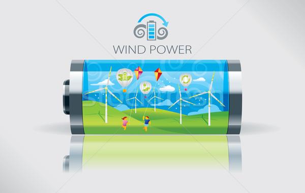 Eco wind batterij illustratie groot groene Stockfoto © penivajz