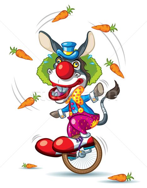 Foto stock: Burro · palhaço · ilustração · equitação · pequeno