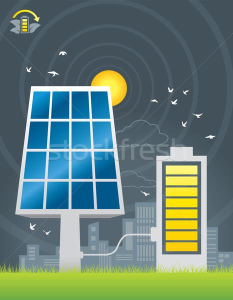 Stockfoto: Zonnepanelen · stad · energie · illustratie · groot · batterij