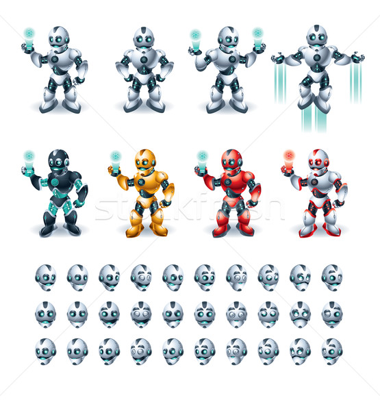 Robot actie illustratie verschillend kleur chroom Stockfoto © penivajz