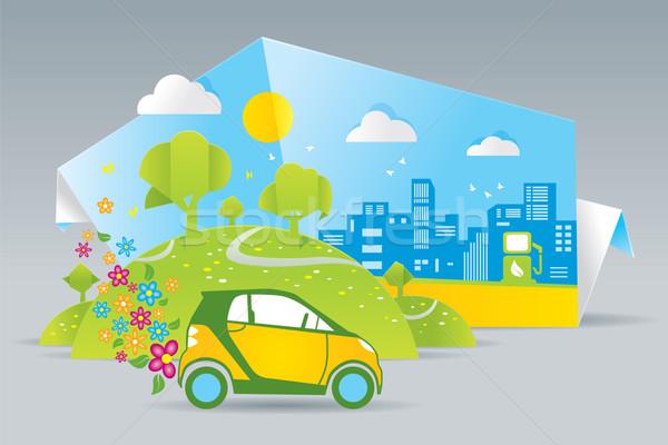 Eco auto illustratie groene veld boom Stockfoto © penivajz
