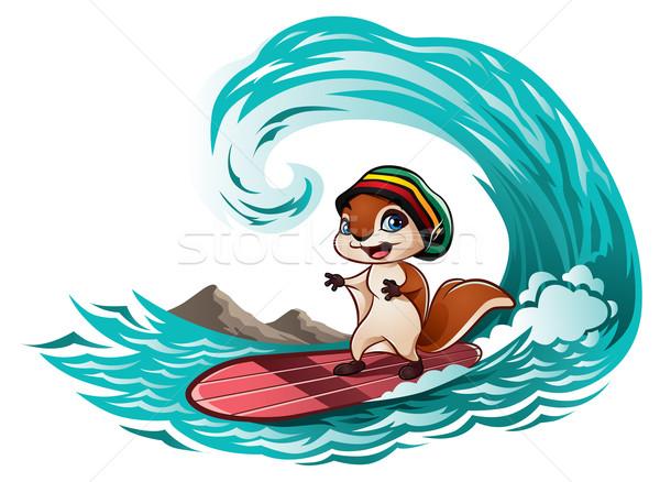Mókus lovaglás hullámok illusztráció aranyos kicsi Stock fotó © penivajz