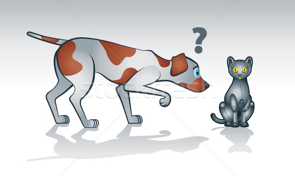 Robot cat with curious dog  Stock photo © penivajz
