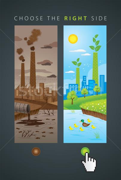 Oude nieuwe ecologie stad illustratie vergelijking Stockfoto © penivajz