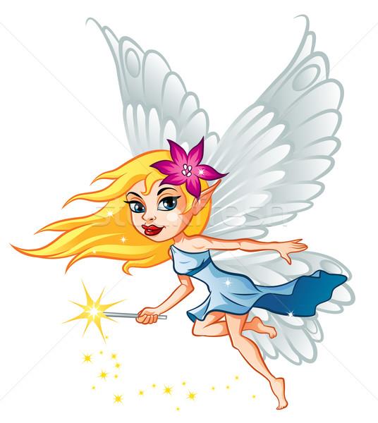 Cute weinig fairy illustratie meisje Stockfoto © penivajz