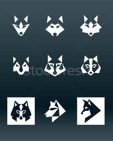 Wilk logo ilustracja biały głowie ciemne Zdjęcia stock © penivajz