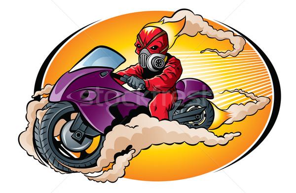 Schedel rijden motor illustratie Rood brandend Stockfoto © penivajz