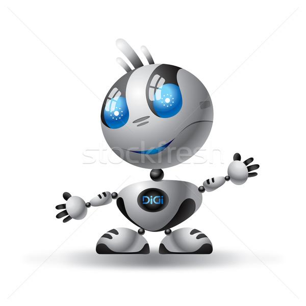 ロボット 実例 クロム ビッグ 青い目 技術 ストックフォト © penivajz