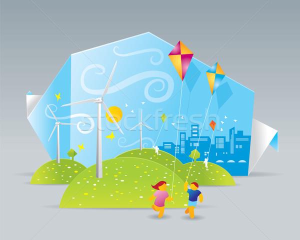 エコ 実例 緑 フィールド 花 子供 ストックフォト © penivajz