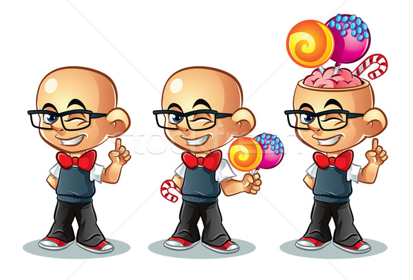 Snoep jongen illustratie cute bril kind Stockfoto © penivajz