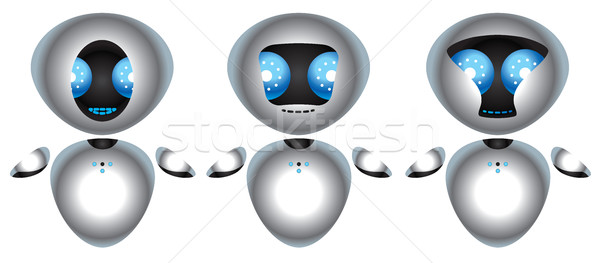 Three chrome robot with big blue eyes Stock photo © penivajz
