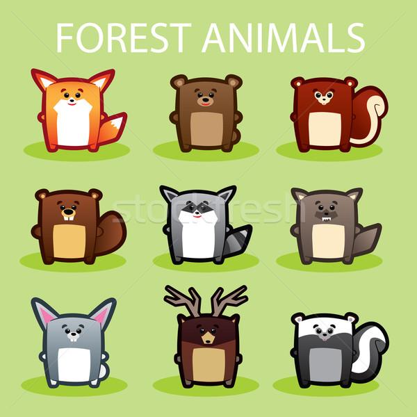 Bos dieren illustratie cute groene Stockfoto © penivajz