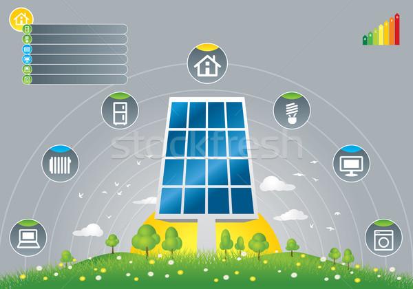 Eco solar panels for house Stock photo © penivajz
