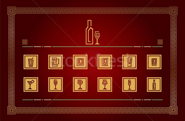 Ital piktogramok illusztráció arany piros Stock fotó © penivajz