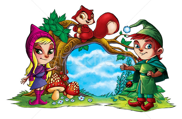 Two cute little forest elves with squirrel   Stock photo © penivajz