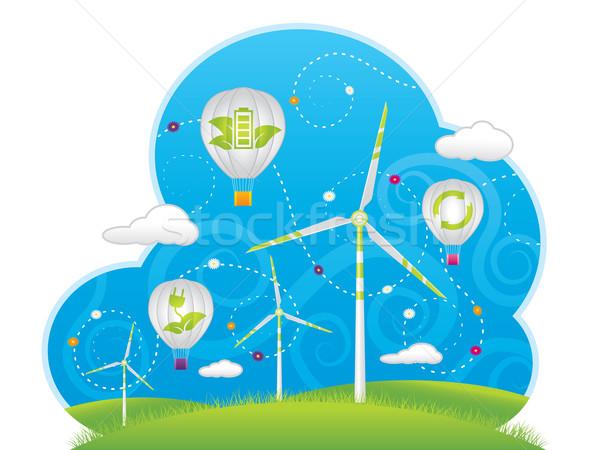 Eco lucht ballonnen illustratie hemel gras Stockfoto © penivajz
