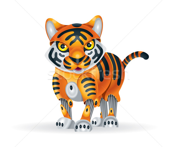 Robot tijger welp illustratie cute weinig Stockfoto © penivajz