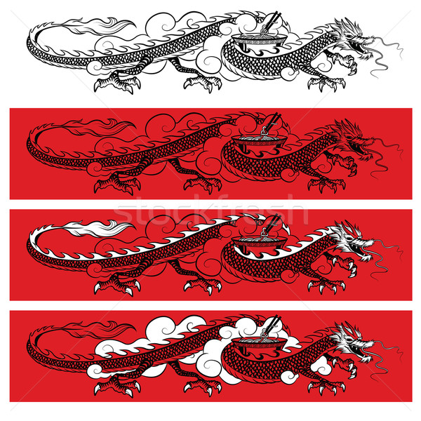 Zwarte draak illustratie traditioneel Rood Stockfoto © penivajz