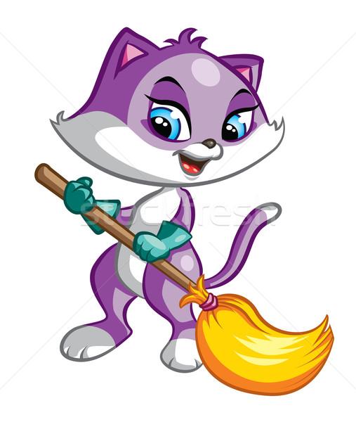 Schoonmaken kat illustratie cute paars bezem Stockfoto © penivajz