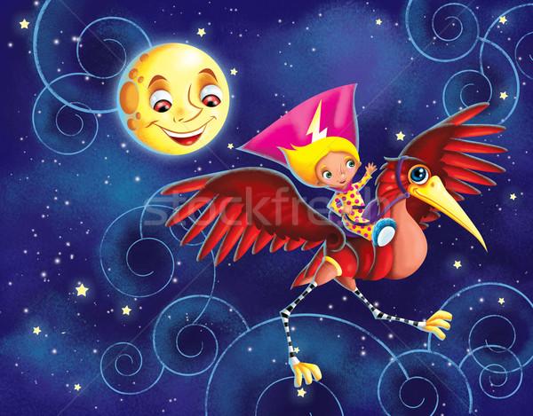 女の子 ライディング メカニカル 鳥 実例 赤 ストックフォト © penivajz