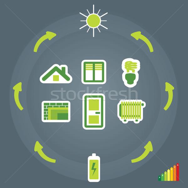 Eficiência energética ilustração casa projeto tecnologia porta Foto stock © penivajz