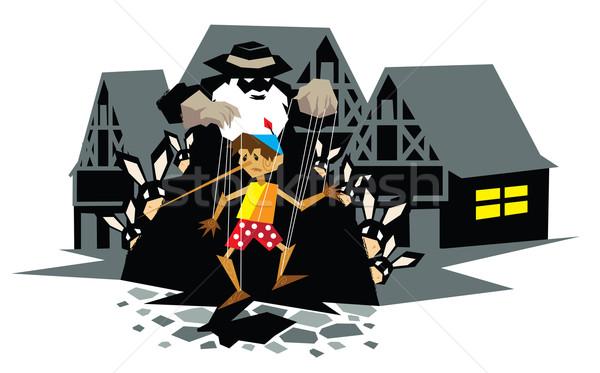 Illusztráció mese fából készült marionett ház ablak Stock fotó © penivajz