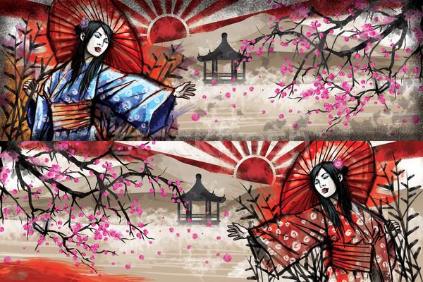 Meisje kimono illustratie mooie kers Stockfoto © penivajz