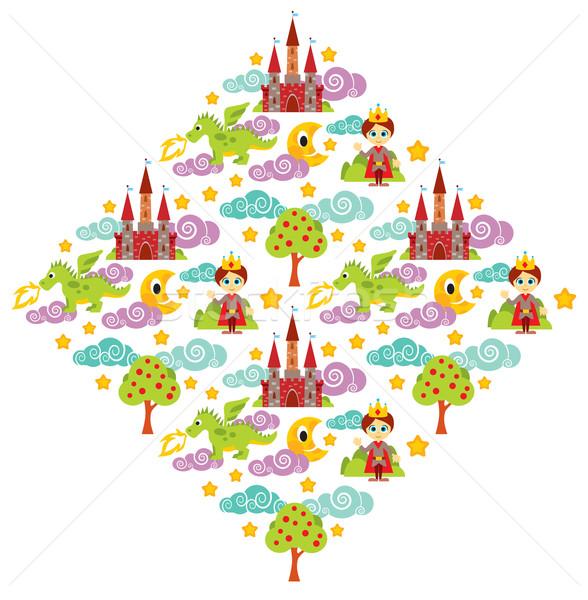Foto stock: Príncipe · dragón · patrón · ilustración · árbol · castillo