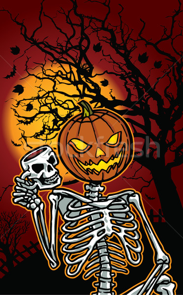 Halloween pumpkin skeleton Stock photo © penivajz